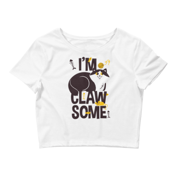 Women's Cute Gift for Crazy Cat Lovers, I'm Clawsome - Funny Crop Top