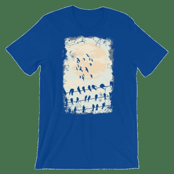 Women's Elegant Birds Silhouettes Short Sleeve T-Shirt