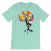 Women's Funny Black Cat Flying with Balloons Short Sleeve T-Shirt