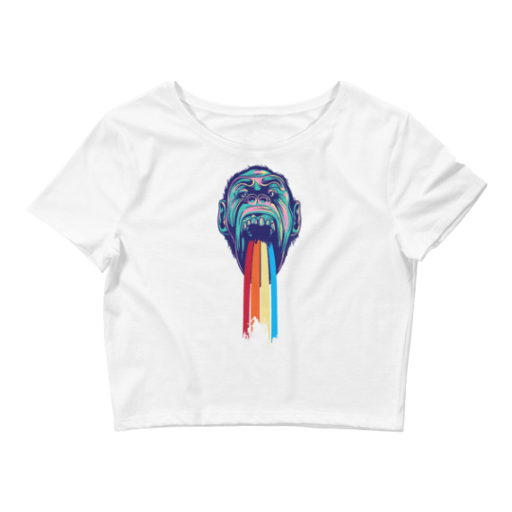 Women's Funny Monkey Puking Rainbows Crop Top