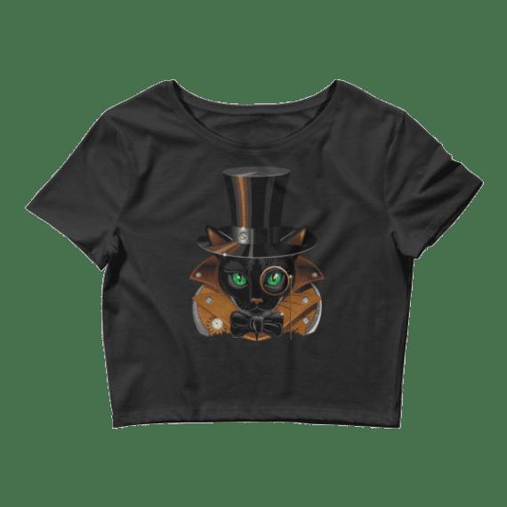 Women's Magical Black Cat Crop Top