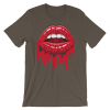 Women's Open Woman Mouth with Red Lips Short Sleeve T-Shirt