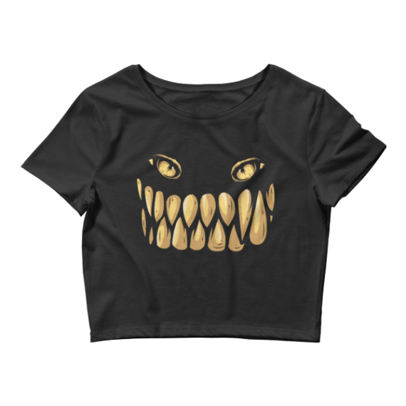 Women's Scary Monster Teeth and Eyes Crop Top