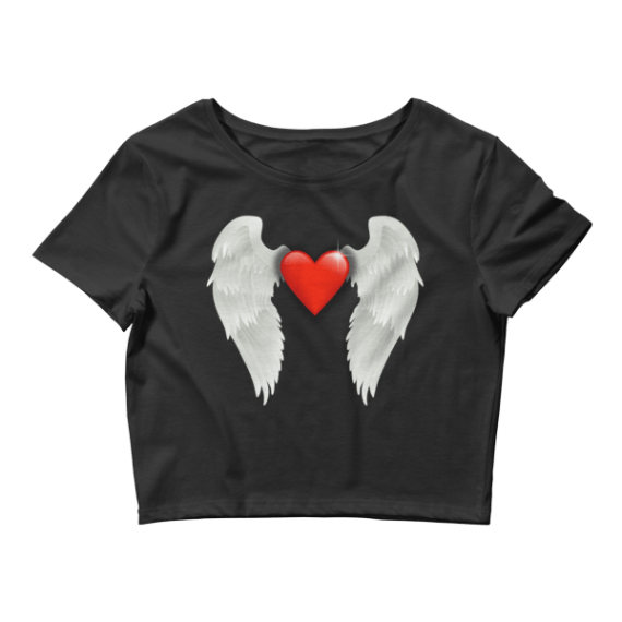 Women's Shiny Red Heart With Angel Wings Crop Top