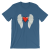 Women's Shiny Red Heart With Angel Wings Short Sleeve T-Shirt
