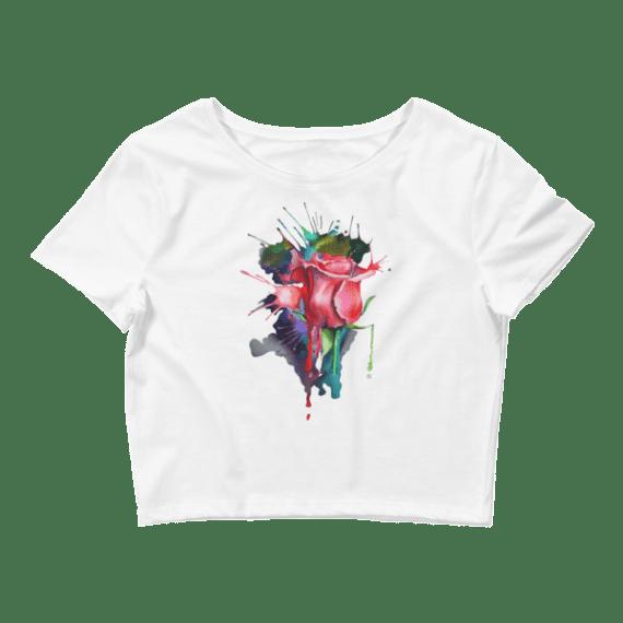 Women's Watercolor Rose Crop Top