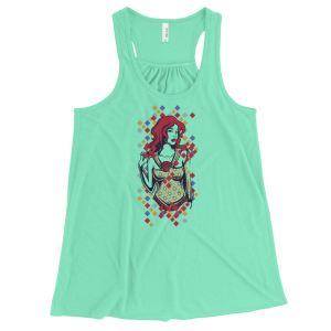 Women's Cute Red Haired Lady Flowy Racerback Tank Top