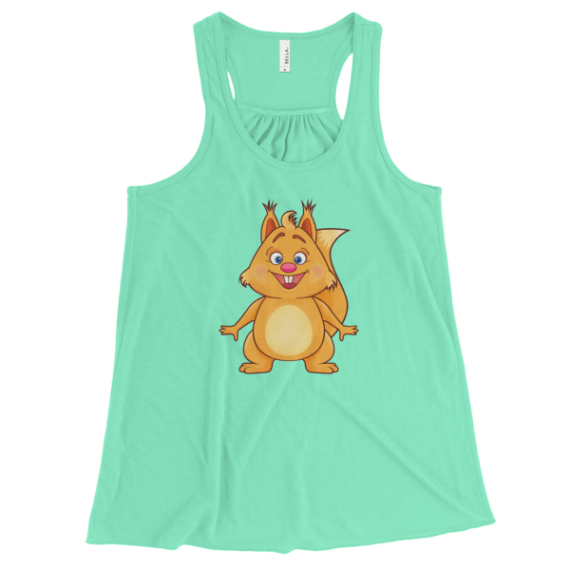 Women's Funny Squirrel Flowy Racerback Tank Top