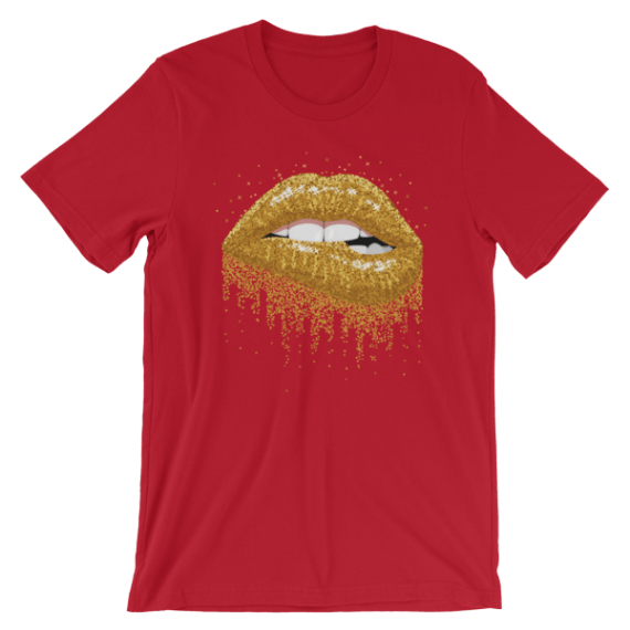 Women's Glitter Gold Sparkles Lips Short Sleeve T-Shirt