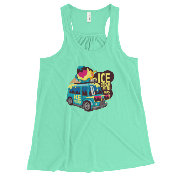 Women's ice Cream Mini Bus Flowy Racerback Tank Top