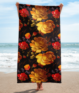 Yellow and Red Roses Towel
