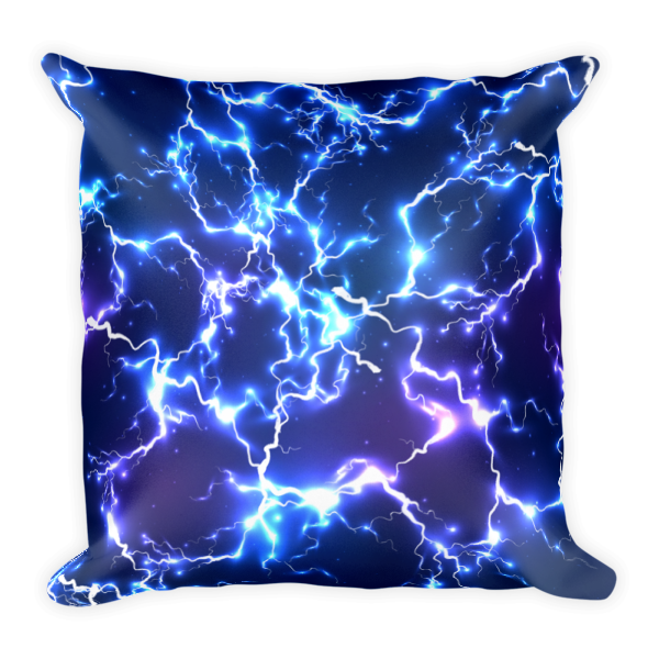 Blue Electric Lightnings Thunders Square Pillow