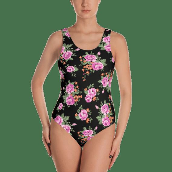 Classic Roses Print One Piece Swimsuit - Ladies' Beachwear Bathing Suit