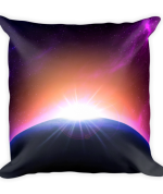 Colorful Space Sunrise Square Pillow