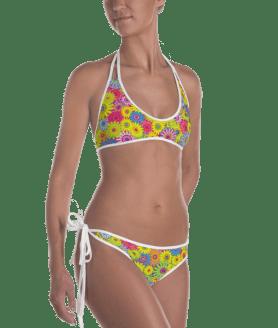 Colorful Summer Flowers and Butterflies Reversible Bikini - Ladies' Beachwear Bathing Suit