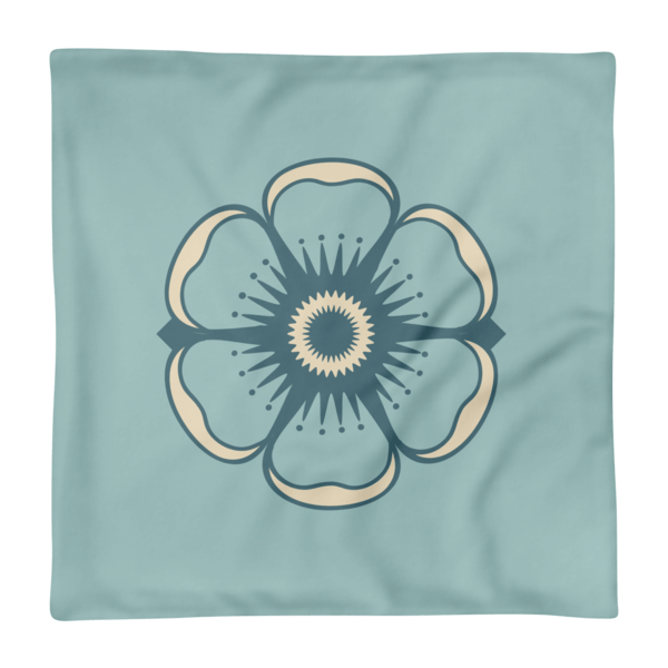 Cute Flower on Light Blue Print Square Pillow Case only