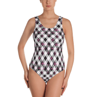 Diagonal Black and White Checkered One-Piece Swimsuit - Ladies' Beachwear Bathing Suit