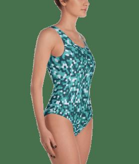 Fashionable Marine Blue Hexagonal Camouflage - U.S. Army Camo One Piece Swimsuit - Ladies' Beachwear Bathing Suit