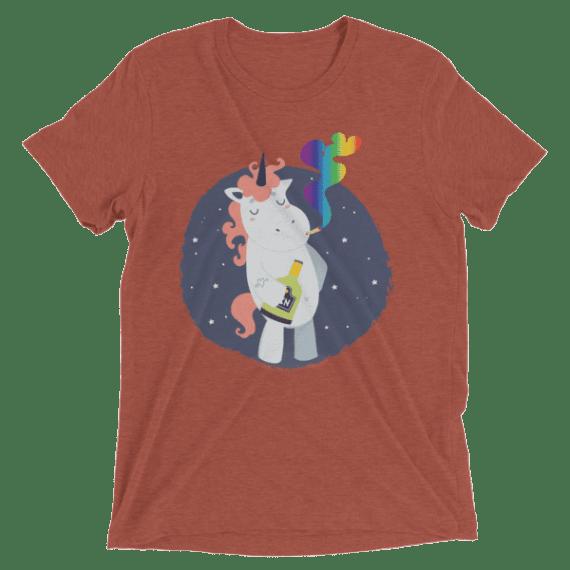 Funny Bad Drunk Unicorn Smoking Rainbow Cannabis Weed Short sleeve Unisex t-shirt