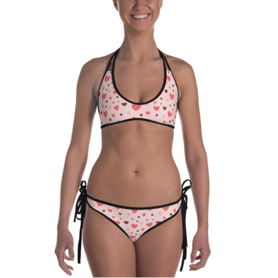 Girls' Fun Wear Hot Two Pieces Clear Sexy Swimming Heart Print On Top And Bottom Reversible Bikini Set - Lovely Women's Beachwear Bathing Suit