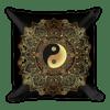 Golden Yin And Yang Mandala Flower Square Pillow