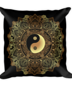Golden Yin And Yang Mandala Flower Square Pillow