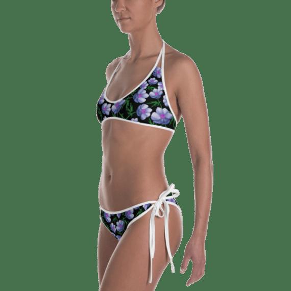 Ladies' Fun Wear Hot Two Pieces Clear Sexy Multicolored Tropical Flowers Print Double Face Bikini - Women's Beachwear Bathing Suit