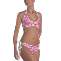 Ladies' Fun Wear Hot Two Pieces Clear Sexy White Rose Petals Print On Top And Bottom Reversible Bikini - Women's Beachwear Bathing Suit