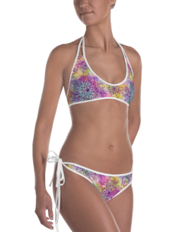 Lady's Fun Wear Hot Two Pieces Clear Sexy Floral Print On Top And Bottom Reversible Bikini - Women's Beachwear Bathing Suit