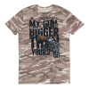 My Gun Is Much Bigger Than Yours Short-sleeved camouflage t-shirt - Funny Camo T-shirt