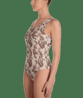 Old School Military Camo - Desert Camouflage One-Piece Swimsuit - Ladies' Beachwear Bathing Suit