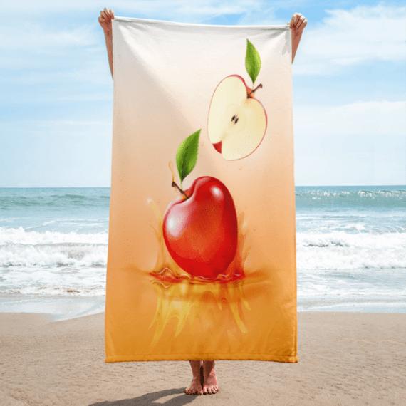 Red apple drop on juice Towel