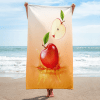 Red apple drop on juice Towel