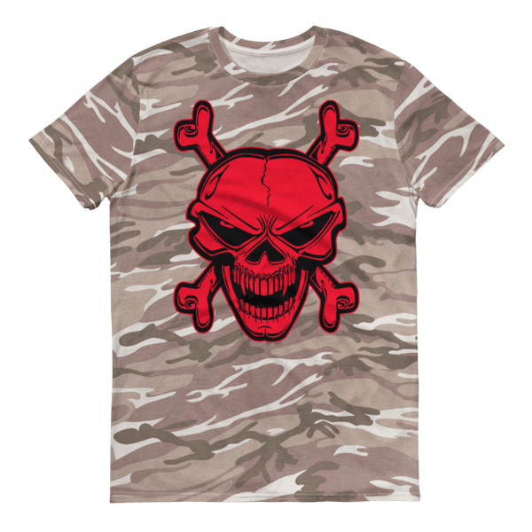 Red skull and crossbones Short-sleeved camouflage t-shirt
