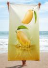 ripe mangoes drop on juice splash and ripple towel