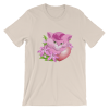 Sexy Pink Cat Shirts - Kitten with Pink Flowers and Red Heart Short Sleeve Women's T-Shirt