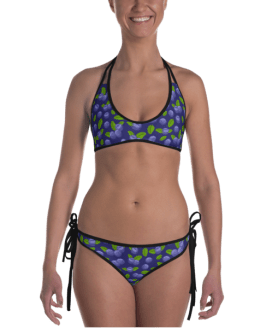 Strawberry & Blueberry Reversible Bikini - Ladies' Double Face Beachwear Bathing Suit