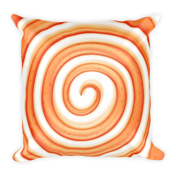 Sweet Orange and White Round Lollipop Candy Square Pillow