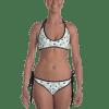 White, Pink and yellow Flowers on the polka dots Print Reversible Bikini - Women's Beachwear Bathing Suit