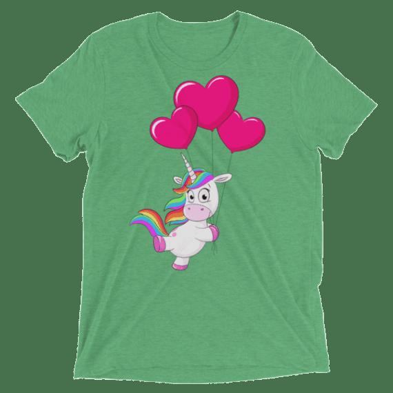 Women's Cute Unicorn With Heart-shaped Balloons Short sleeve t-shirt