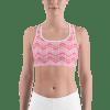 Bright Hot Pink Striped Sports Bra
