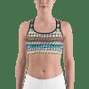 Colorful Geometric Stripes Gym Workout Sports Bra