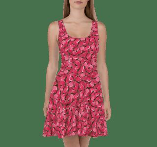Hot Summer Red Tropical Flowers Skater Dress