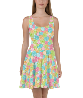 New Shiny Multicolored Candy Skater Dress