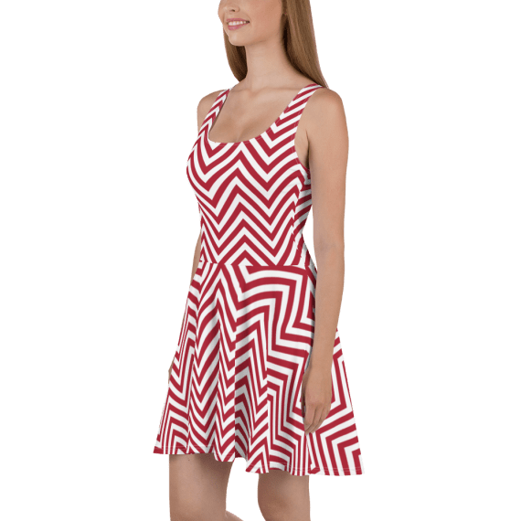 Summer Trendy Striped Dress - Fashionable Red/White Skater Dress