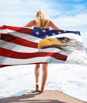 American Flag & USA Eagle Patriot Towel - Powerful American Eagle Beach Towel
