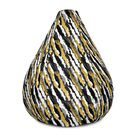 Black and Gold Stripes Bean Bag Chair With Filling