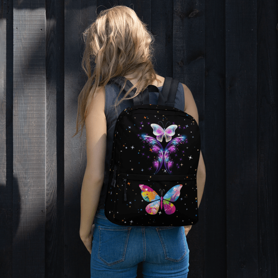 Bright Colorful Butterflies with Shiny Glowing Stars Backpack