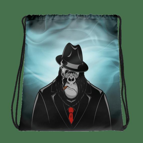 Funny Gangster Monkey Drawstring bag