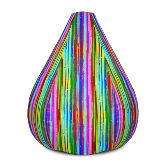 Shiny Rainbow Striped Bean Bag Chair With Filling - Big Brilliant Glowing Colorful Lines Bean Bag
